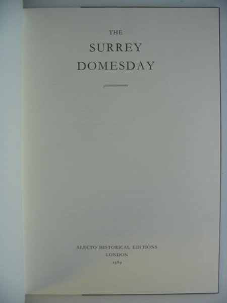 Photo of THE SURREY DOMESDAY (3 VOLUMES) published by Alecto Historical Editions (STOCK CODE: 676297)  for sale by Stella & Rose's Books