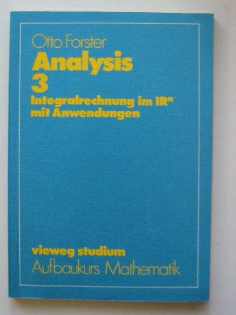 Photo of ANALYSIS 3 written by Forster, Otto published by Friedrich Vieweg (STOCK CODE: 811548)  for sale by Stella & Rose's Books