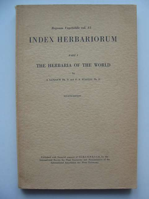 Photo of INDEX HERBARIORUM PART I THE HERBARIA OF THE WORLD- Stock Number: 811773