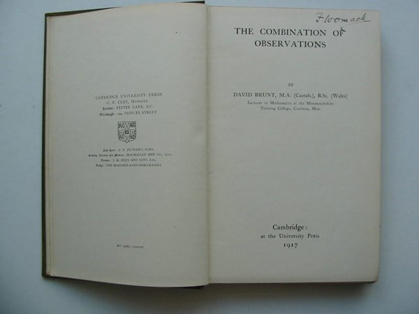 Photo of THE COMBINATION OF OBSERVATIONS written by Brunt, David published by Cambridge University Press (STOCK CODE: 812066)  for sale by Stella & Rose's Books