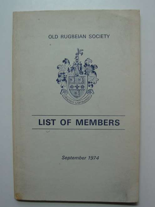 Photo of OLD RUGBEIAN SOCIETY LIST OF MEMBERS SEPTEMBER 1974- Stock Number: 812579