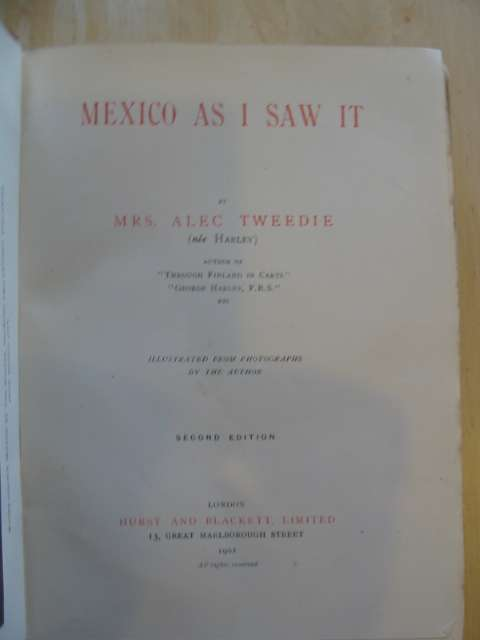 Photo of MEXICO AS I SAW IT written by Tweedie, Mrs. Alec published by Hurst & Blackett (STOCK CODE: 814550)  for sale by Stella & Rose's Books