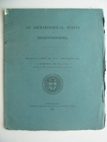 Photo of AN ARCHAEOLOGICAL SURVEY OF HEREFORDSHIRE written by BEVAN, J.O.<br />Davies, James<br />Haverfield, F. published by Nichols And Sons (STOCK CODE: 817156)  for sale by Stella & Rose's Books