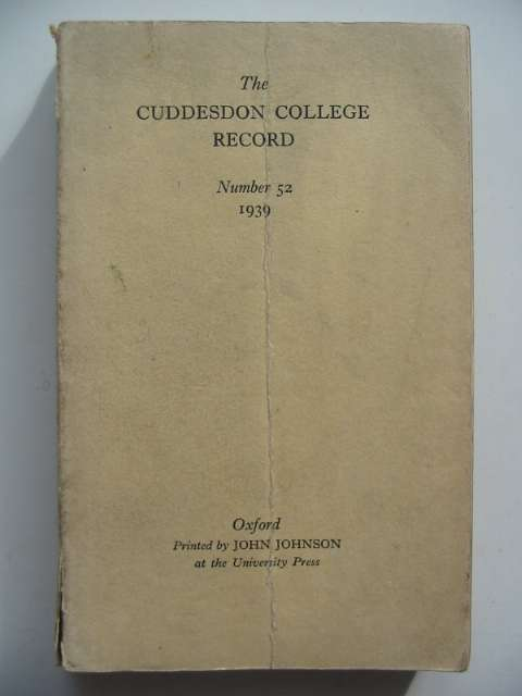 Photo of THE CUDDESDON COLLEGE RECORD NUMBER 52 1939 published by Oxford University Press (STOCK CODE: 817496)  for sale by Stella & Rose's Books