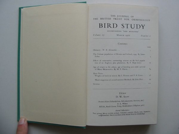 Photo of BIRD STUDY VOLS. 13-14 written by Snow, David W. published by British Trust for Ornithology (STOCK CODE: 818245)  for sale by Stella & Rose's Books