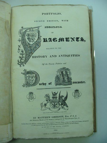 Photo of A PORTFOLIO AND FRAGMENTS AND ANTIQUITIES OF LANCASHIRE written by Gregson, Matthew published by G.H. Harris's Widow And Brothers (STOCK CODE: 900316)  for sale by Stella & Rose's Books
