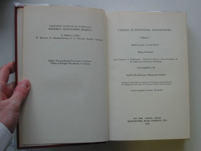 Photo of TABLE OF INTEGRAL TRANSFORMS VOLUME I written by Bateman, Harry published by McGraw-Hill Book Company (STOCK CODE: 990077)  for sale by Stella & Rose's Books