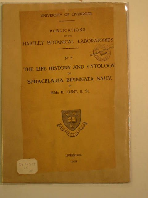 Photo of THE LIFE HISTORY AND CYTOLOGY OF SPHACELARIA BIPINNATA written by Clint, Hilda B. published by University of Liverpool (STOCK CODE: 990138)  for sale by Stella & Rose's Books