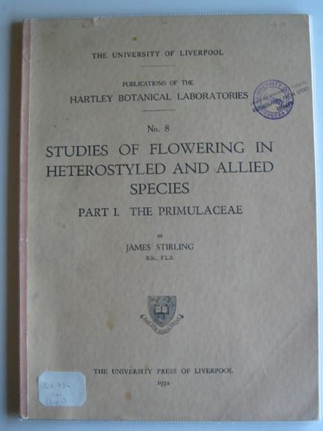 Photo of STUDIES OF FLOWERING IN HETEROSTYLED AND ALLIED SPECIES PART I- Stock Number: 990139