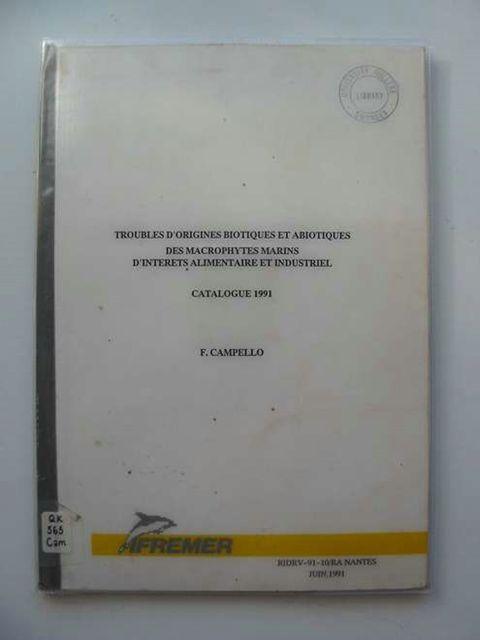 Photo of TROUBLES D'ORIGINES BIOTIQUES ET ABIOTIQUES DES MACROPHYTES MARINS D'INTERETS ALIMENTAIRE ET INDUSTRIEL- Stock Number: 990144