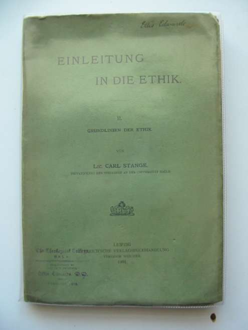 Photo of EINLEITUNG IN DIE ETHIK II- Stock Number: 990282