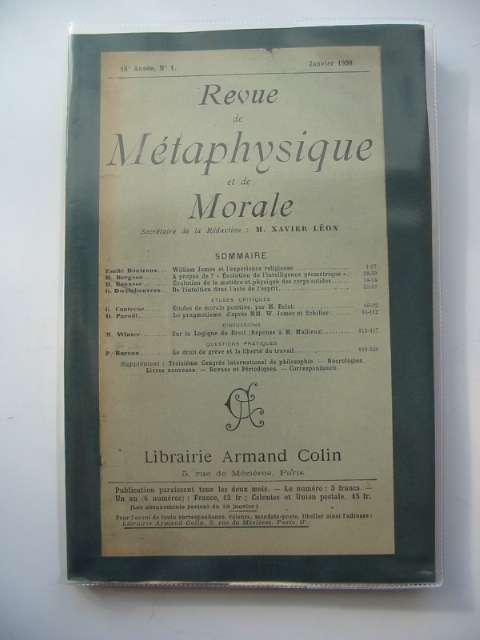 Photo of REVUE DE METAPHYSIQUE ET DE MORALE- Stock Number: 990435